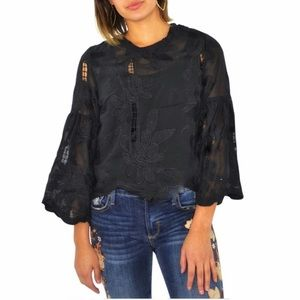 BISHOP & YOUNG PALERMO FLARE SLEEVE TOP BLACK XS